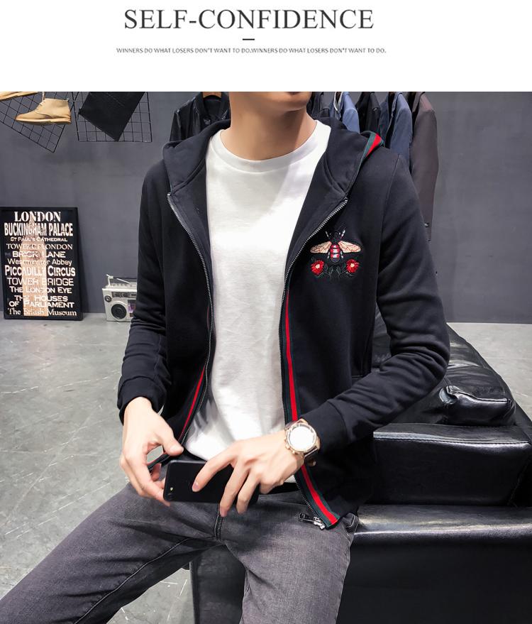 A274/C6505#秋冬新款纯棉品质简约刺绣蜜蜂连帽开衫卫衣男P130