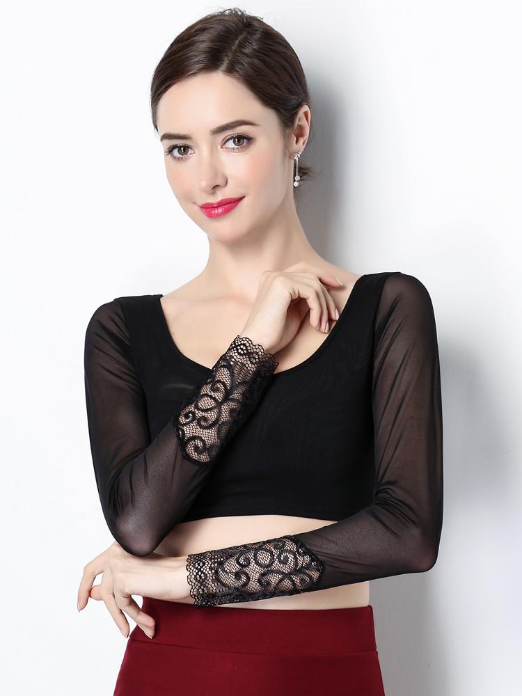 Half-length mesh t-shirt lace top sexy inner short spring and autumn t-shirt T-shirt long sleeve thin