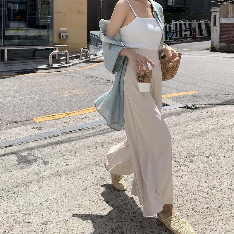 EKOOL超大裤脚裙裤阔腿裤女夏季新款宽松薄款高腰雪纺九分休闲裤