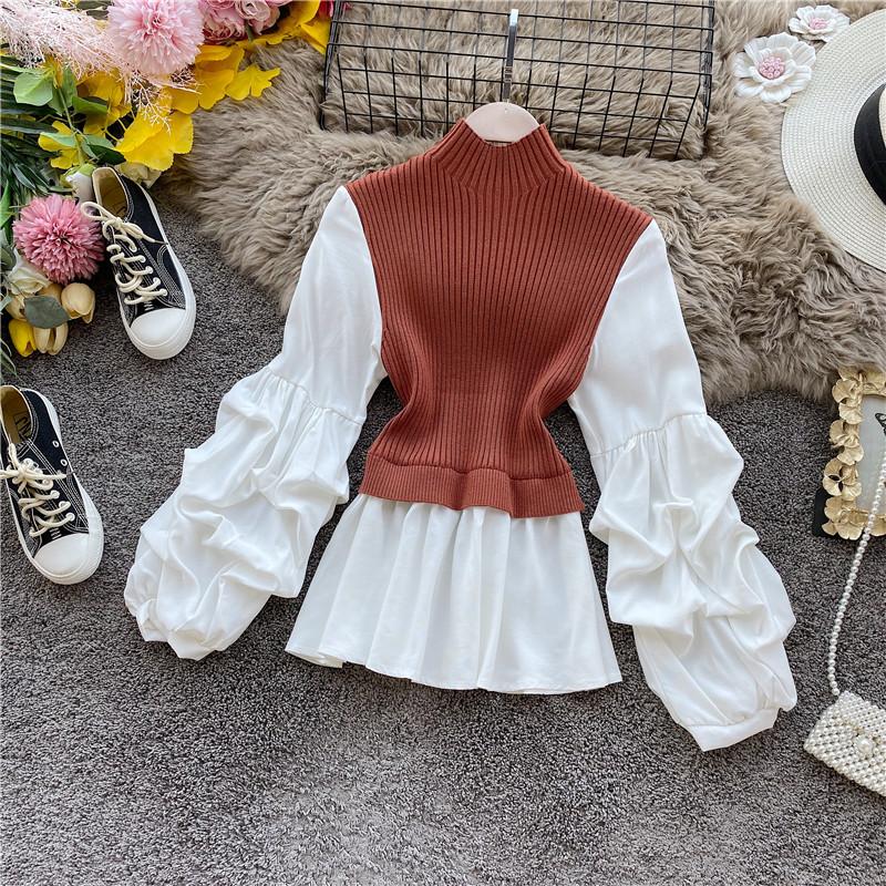 Французский небольшой многие вязание сращивание отпуск лотос юбка рубашка обтягивающий стройнящий фонарь длинный рукав западный стиль куртка волна 609972355937