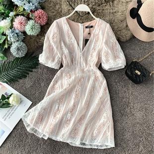 2019 небольшой ароматный темперамент дамы пирсинг кружево платье талия тонкий дизайн смысл небольшой Public v получите цветы юбка