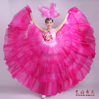 Chinese Folk Dance Costumes Opening dance dress show dress long off shoulder dance cake skirt hot drill stage women's dress