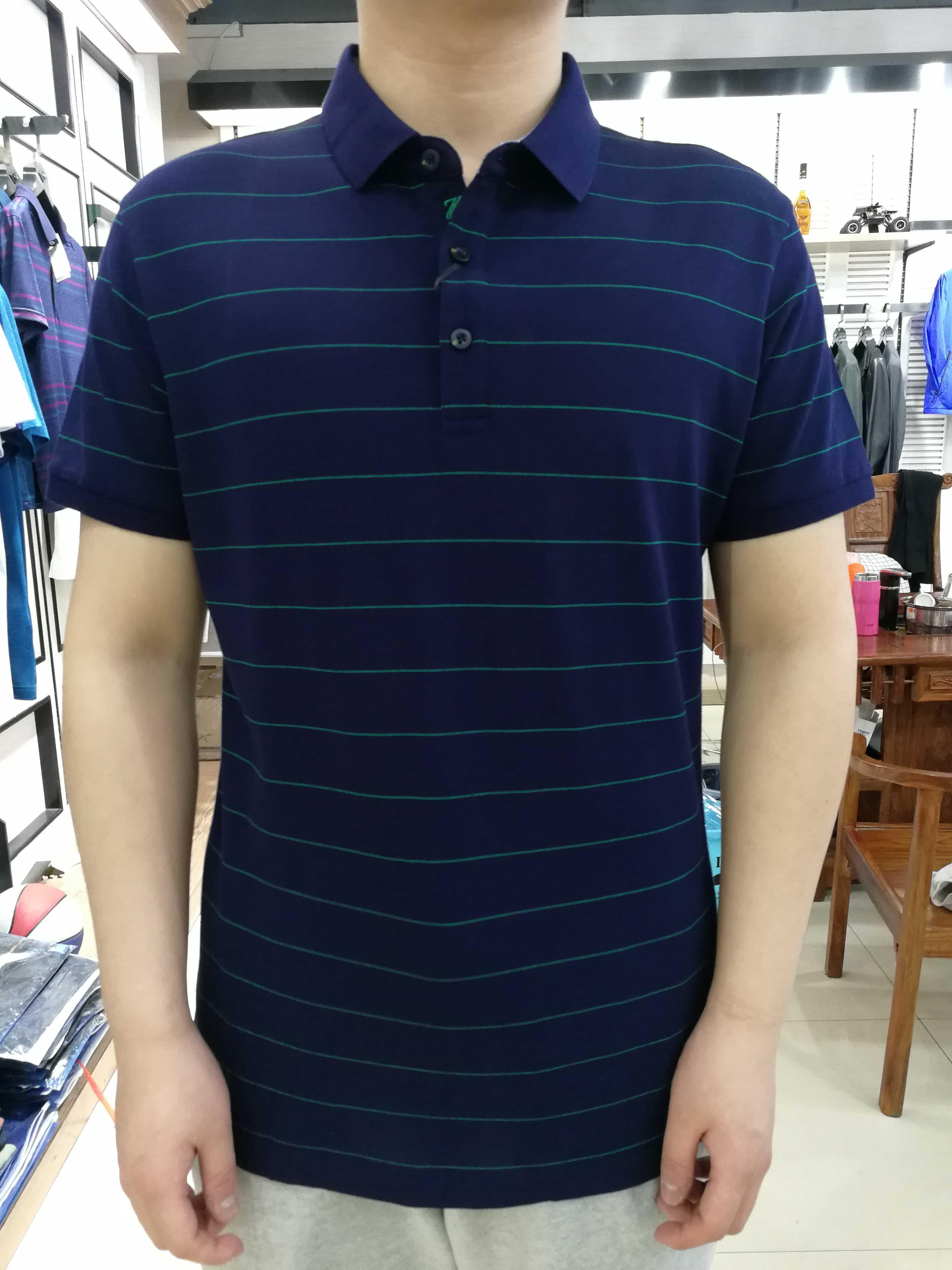 豪威堡商务时尚男装2019夏天短袖新款薄翻领横条纹体恤衫男士T恤