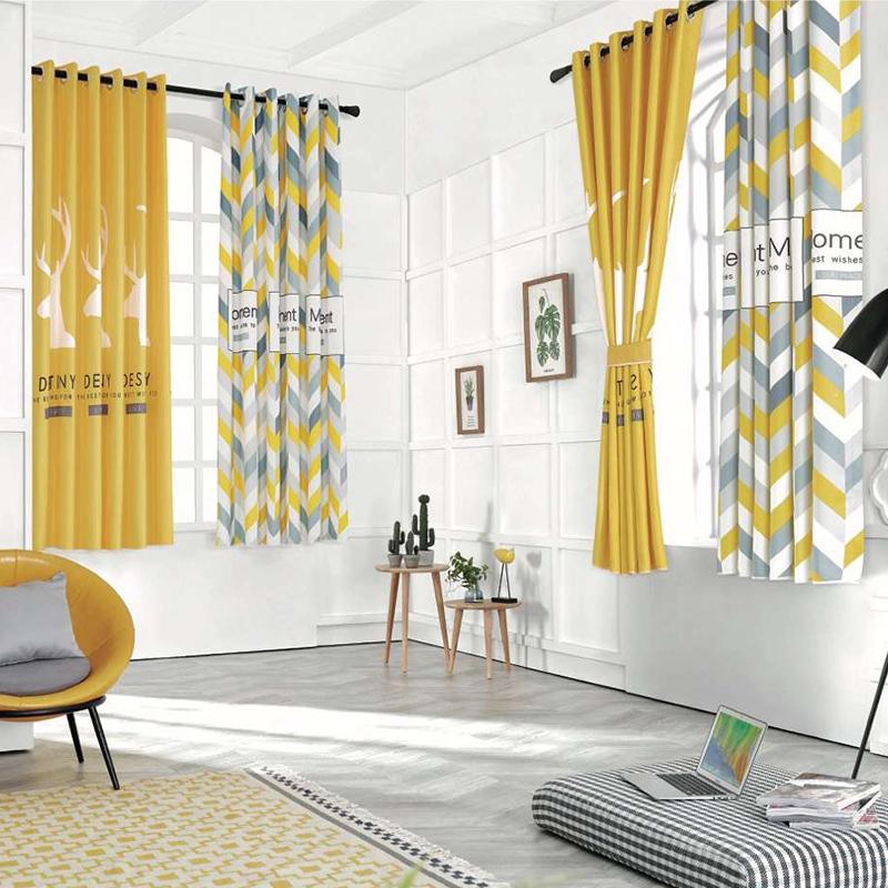 定制艺术北欧简约现代小窗帘短帘半帘卧室飘窗儿童房遮光窗帘成品