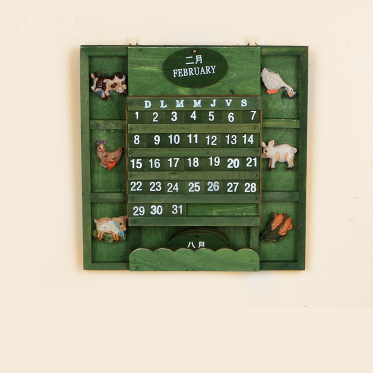 Zakka Creative Wooden Calendars Calendar Calendar Perpetual calendar decoration Retro Wall Calendar wall decoration wall Decorations