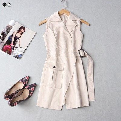 [Special 30] 109190 brand selection taste women's tight tip fall lapel single-button sleeveless solid color windbreaker