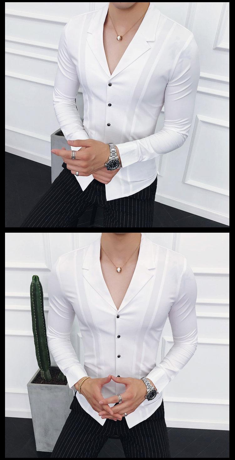 2018秋季 男士长袖衬衫时尚西装领纯色寸衫   A02-P55 控价75以上