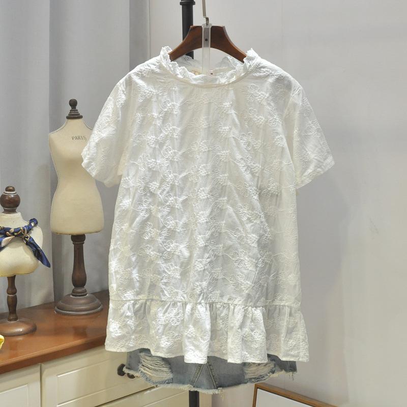 19夏新 日系清新纯色棉布刺绣花边领宽松短袖衬衫 白色学生上衣女