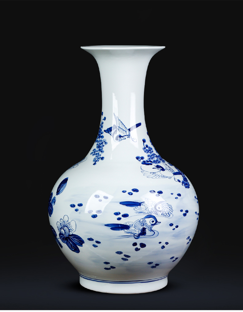 Jingdezhen ceramics hand - made archaize large blue and white porcelain vase sitting room ground study of new Chinese style household furnishing articles