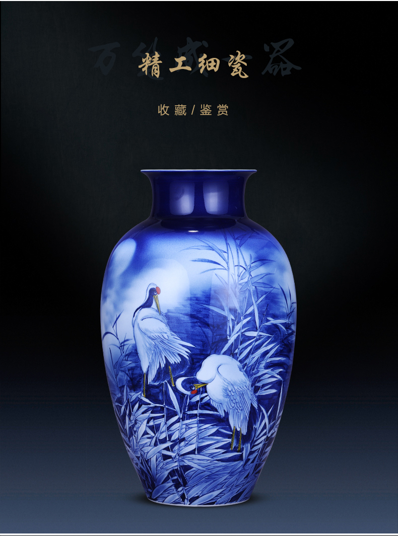 Jingdezhen ceramics hand - made of blue and white porcelain vase landed large expressions using bottles home sitting room adornment is placed