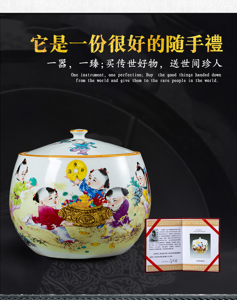 Jingdezhen ceramics caddy fixings loose tea pot a thriving business with cover seal storage tank large household moistureproof