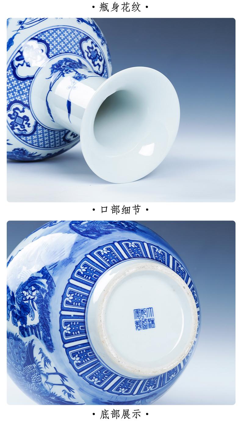 Archaize large blue and white porcelain is jingdezhen ceramics vase sitting room floor furnishing articles TV ark, home decoration