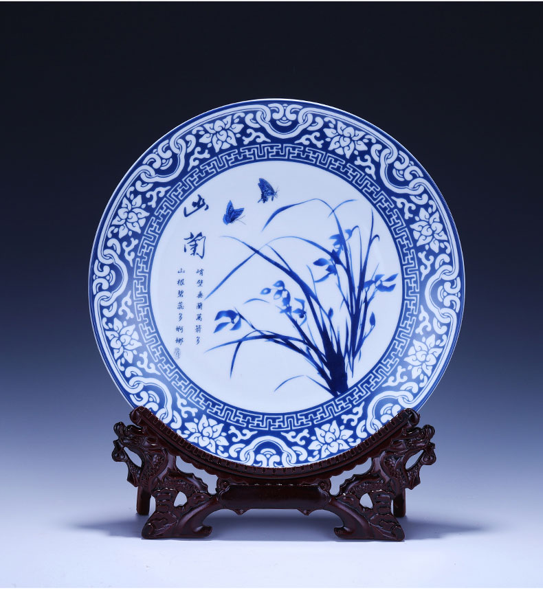 Blue and white porcelain of jingdezhen ceramics decoration plate hanging dish name plum by home sitting room adornment handicraft furnishing articles