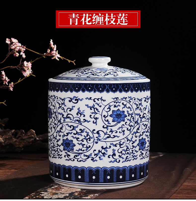 Jingdezhen blue and white porcelain tea pot restoring ancient ways chinaware furnishing articles large tea cake with cover tank storage tank receive a jar