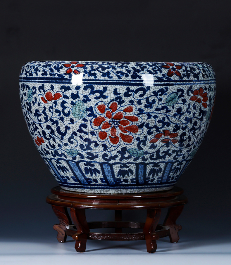 Jingdezhen porcelain ceramic hand - made archaize large blue and white porcelain to raise a goldfish bowl sitting room courtyard hydroponic restoring ancient ways furnishing articles