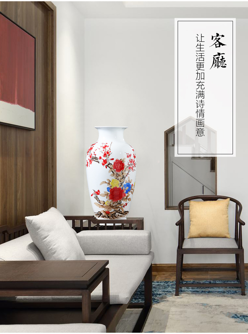 Jingdezhen ceramics powder enamel peony flowers in the vase is placed the new Chinese style big hydroponic home sitting room adornment