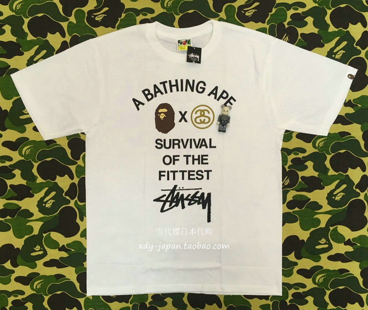 buy popular 93612 d84c7 BAPE x STUSSY joint limited edition TEE S O F the survival of the fittest  Series T-shirt limited edition