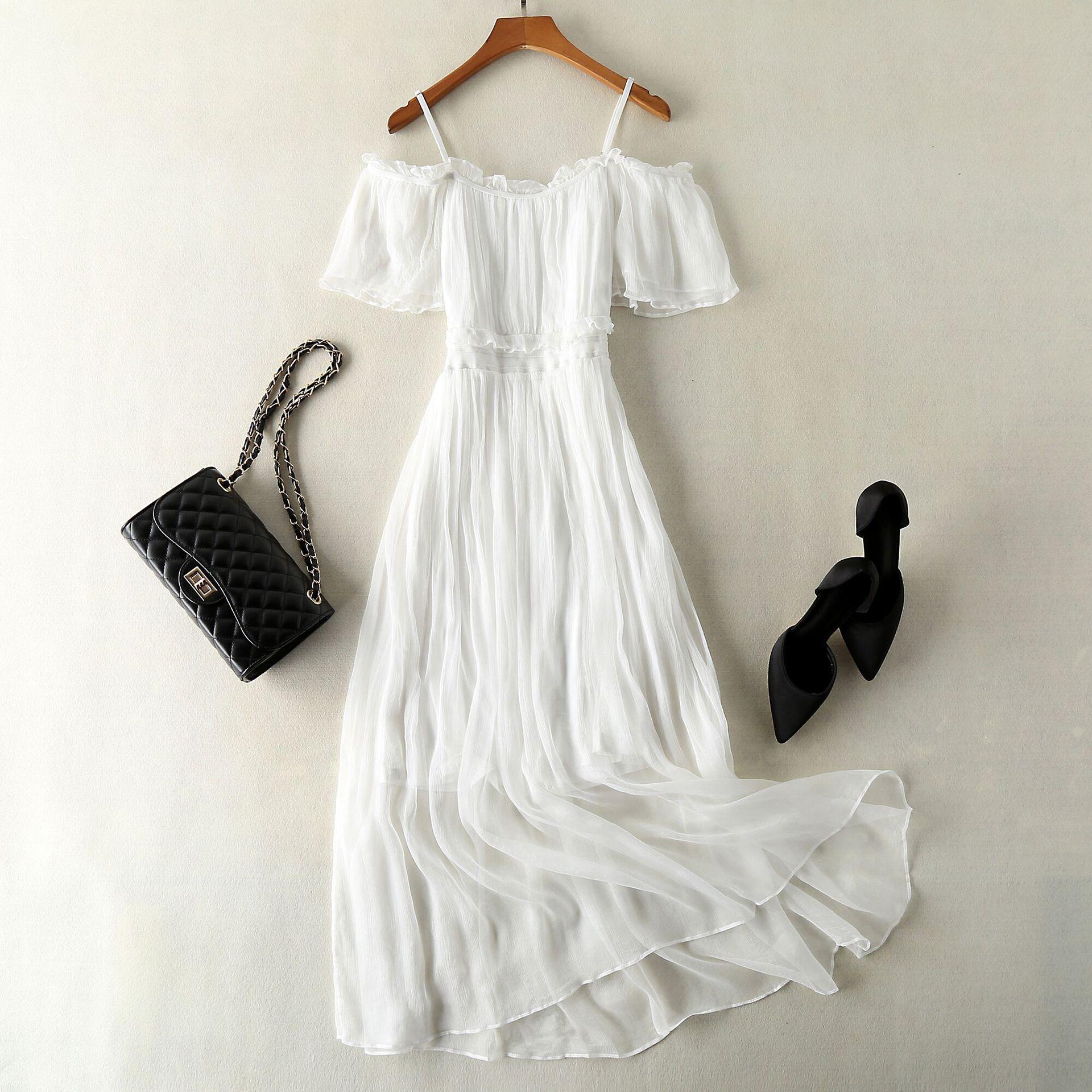高端气质杭州真丝超长仙女连衣裙荷叶边桑蚕丝海边度假沙滩裙品牌