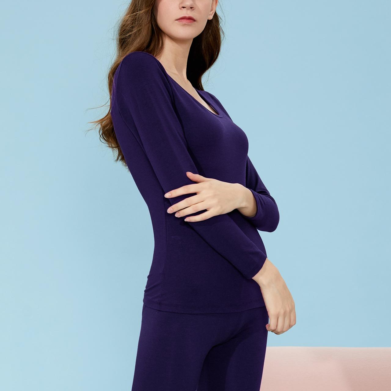 依曼丽新款莫代尔女长袖薄款保暖内衣套装 柔软舒适贴肤居家打底