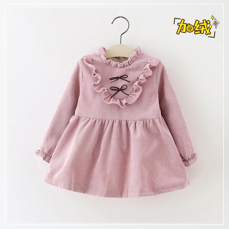 女童连衣裙秋冬加绒裙子婴儿韩版女宝宝公主裙1-2-3-4岁0厚款洋气