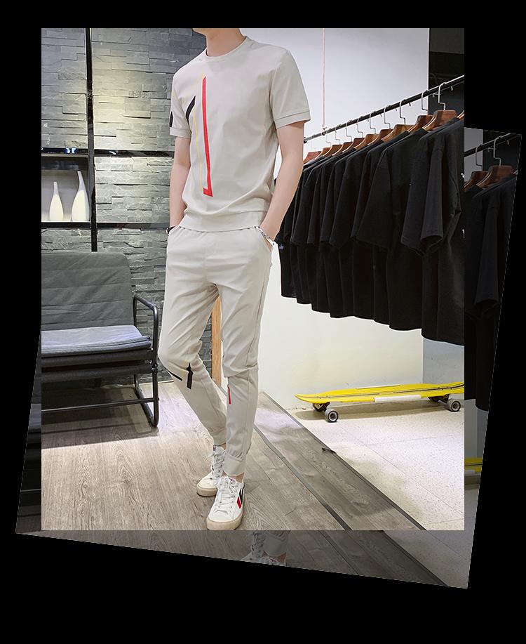 2019新款修身套装男短袖T恤运动潮流套装A472T41P65
