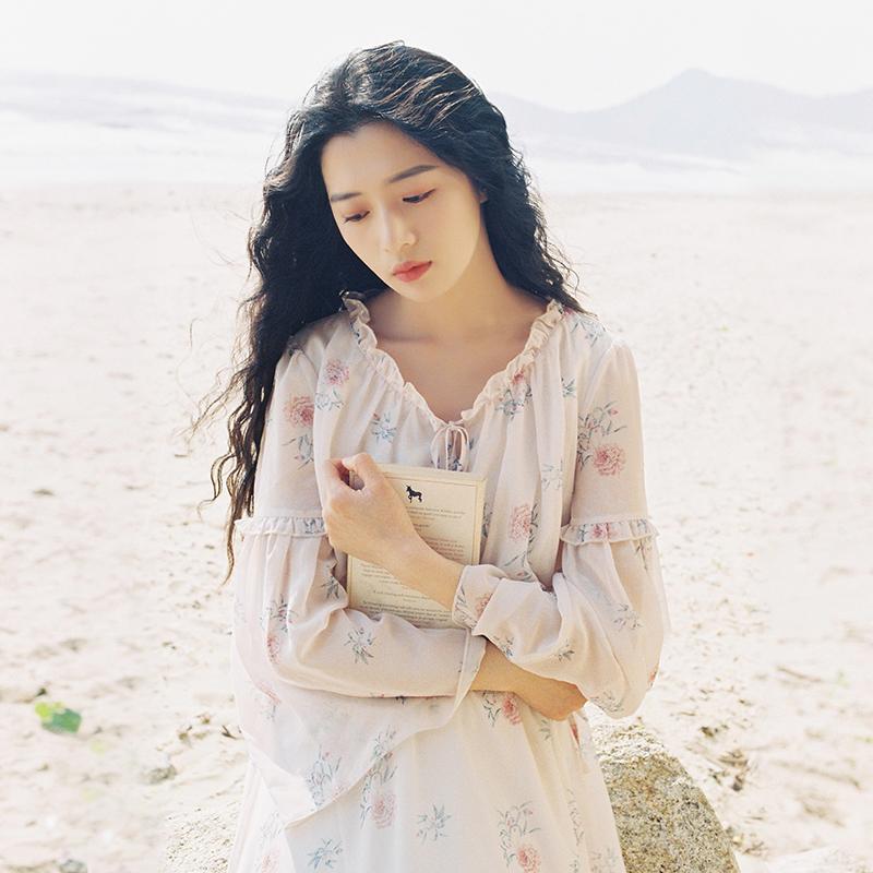Слива спелый были ретро тендер ветер платье порт вкус первая любовь юбка цветочный шифон долго платье женщин литература и искусство весна
