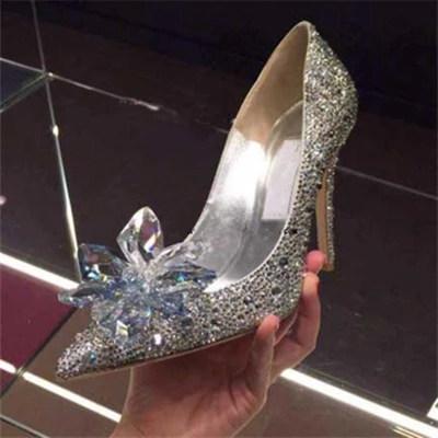JC高跟鞋细跟尖头鞋女灰姑娘水晶鞋婚鞋秋季新娘鞋白色水钻单鞋