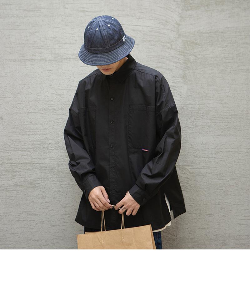 港风长袖衬衫宽松纯色时尚学生衬衣男C612特p45控68