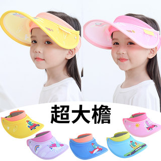 Children, boys and girls baby hat child sun hat covering her face baby sunscreen UV empty top hat large brimmed thin