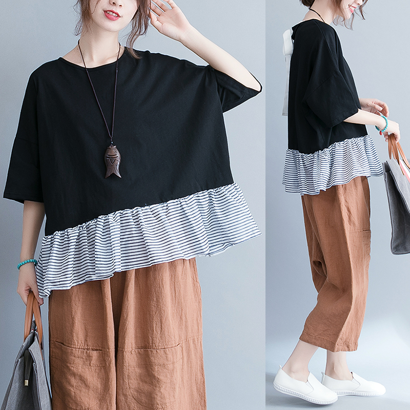 2019 Real Shot Korean Version of the Loose Batwing Sleeve Hem Spell Striped Put on a Large Was Thin by Age T-shirt 48