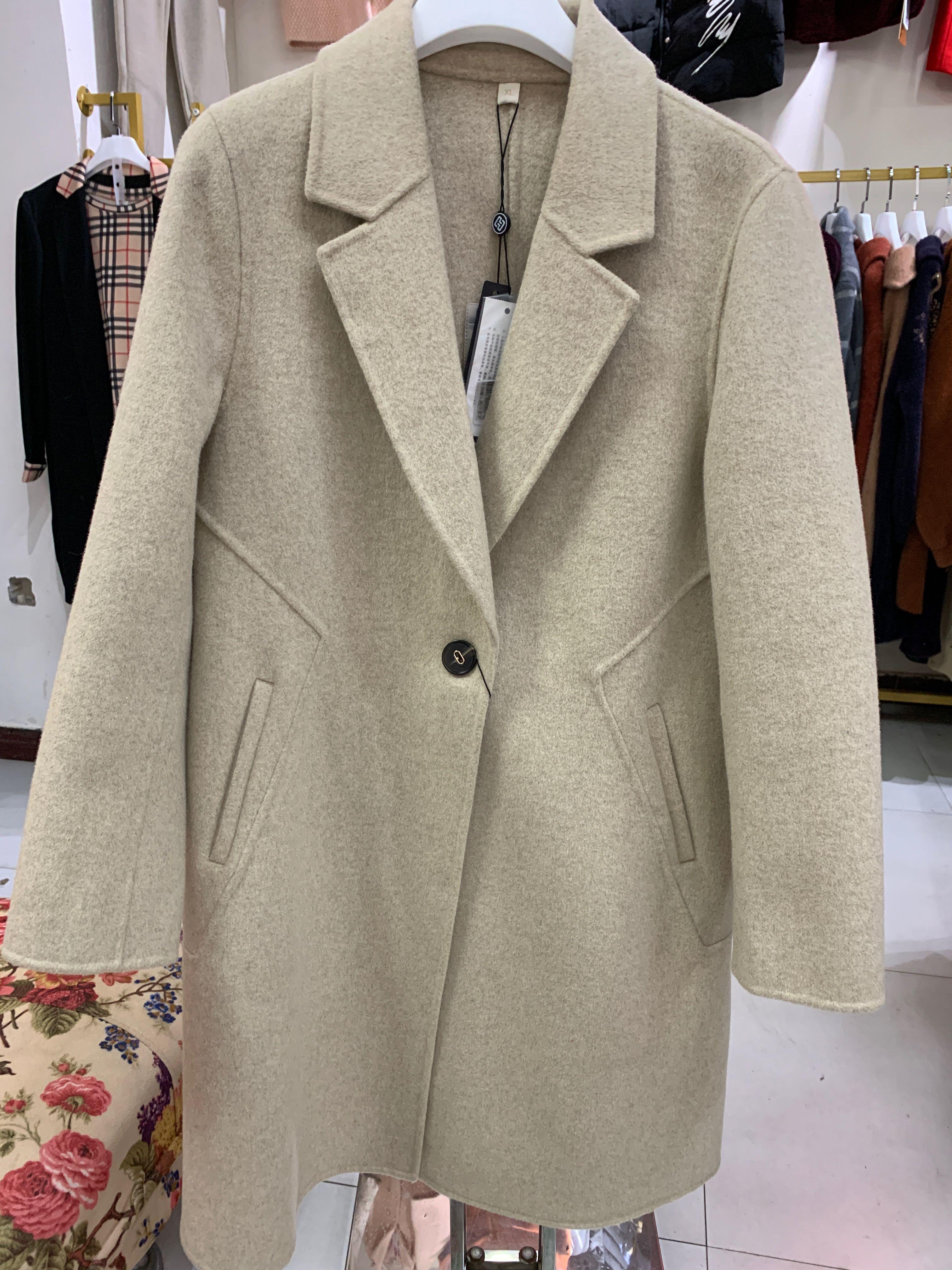 太平妃2019冬季专柜清仓女高端气质毛呢一粒扣双面羊绒大衣