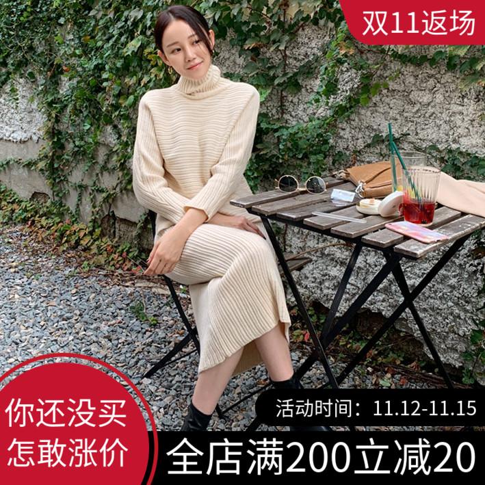 韩国代购高领2019秋款韩版女装套头毛衣+包臀针织半裙两件套套装