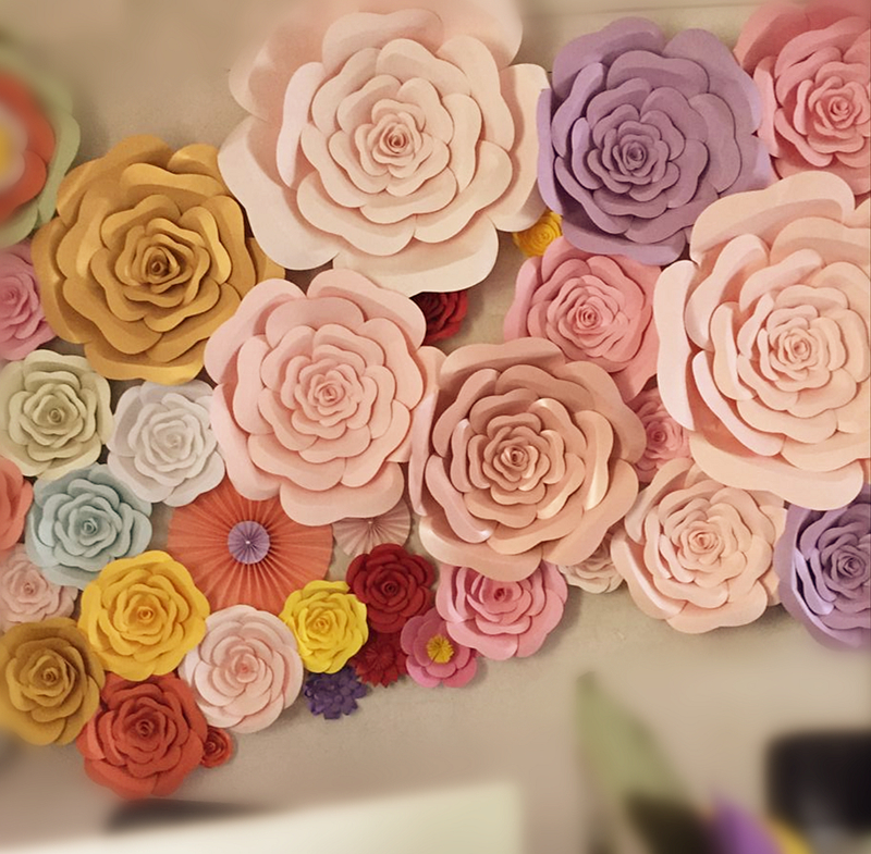 Usd 522 wedding paper flowers wedding stage background props large wedding paper flowers wedding stage background props large simulation handmade paper flowers rose studio shop window mightylinksfo
