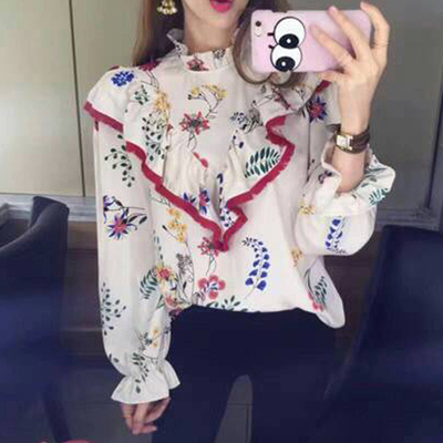 2017 autumn new lotus leaf printed hedging shirt female casual speaker sleeves Korean shirt shirt women