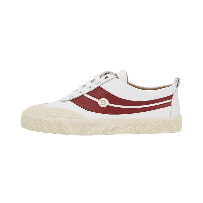 BALLY / Bally trắng da bê màu đỏ hoa văn nữ retro low-top SUPER SMASH sneakers - Giày cắt thấp