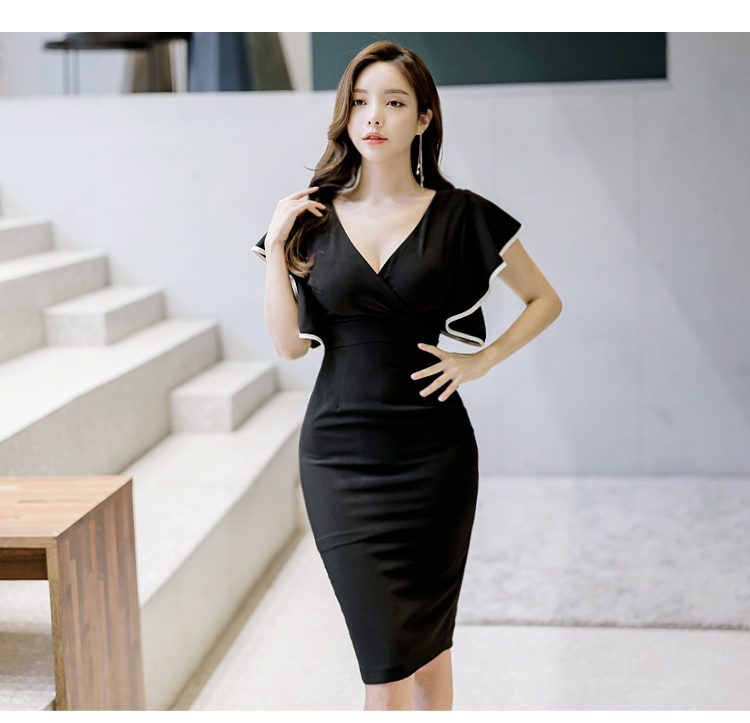 f3ab79922e590c V Neck Ruffle Shoulder Sleeves Pencil Dress - LeBelle18 - Women s ...