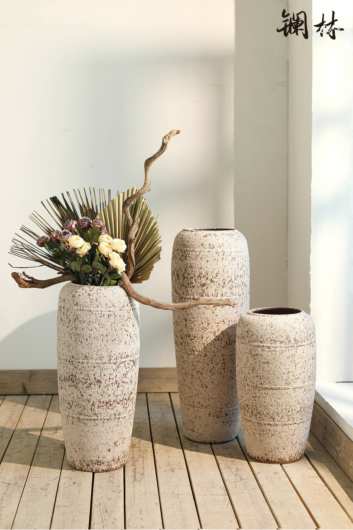 Chinese style restoring ancient ways is coarse pottery vase of large sitting room decoration art of TV ark, porch decoration ceramic vases, furnishing articles