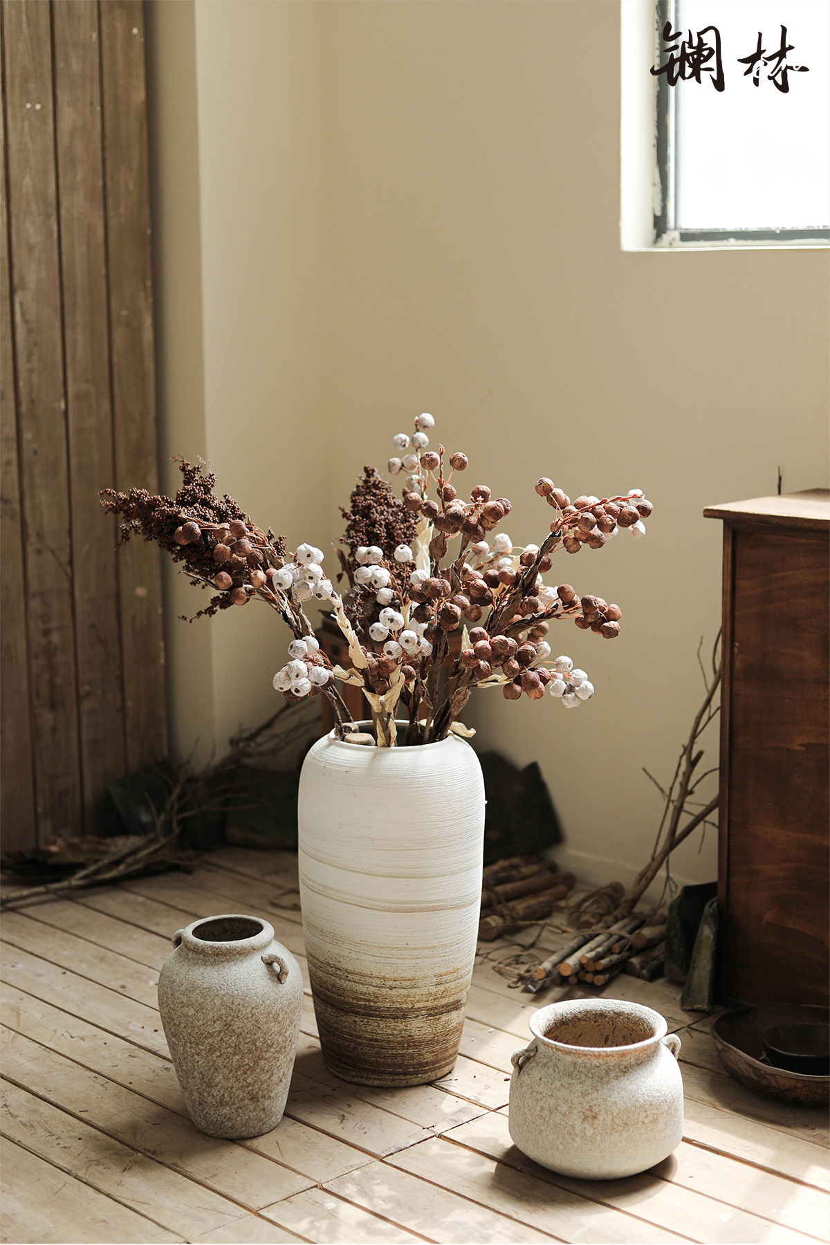 The French are dried flowers plant furnishing articles sitting room adornment vase ceramic bottle hotel home stay buddhist fancy wabi-sabi wind restoring ancient ways