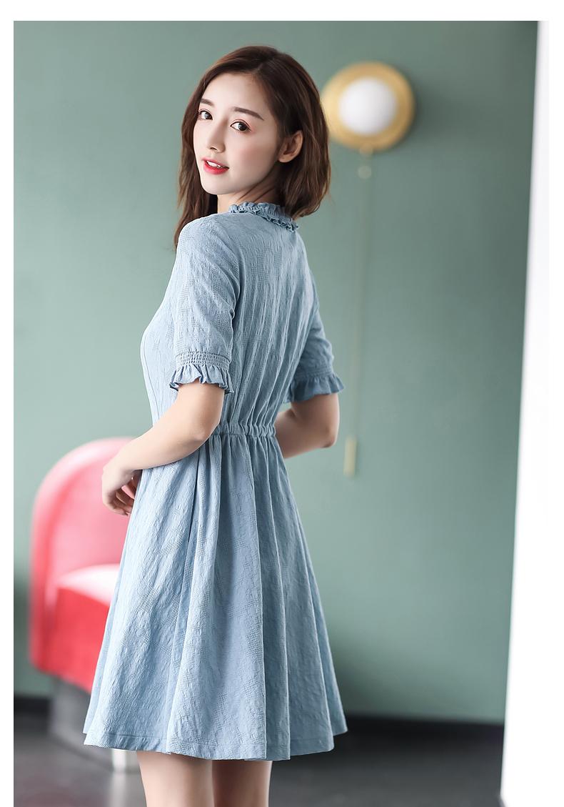 裙子女夏2018新款棉立方夏装中长款小心机修身显瘦短袖纯棉连衣裙