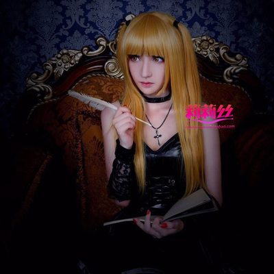 taobao agent Mengxiang Family Death Note Mihaisha 80CM Gold High Temperature Silk Long Straight Hair Cos Wig