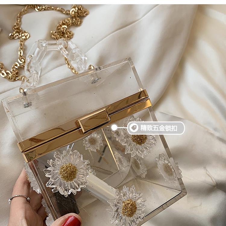 fashion flower chain messenger transparent small square bag NHAV367946