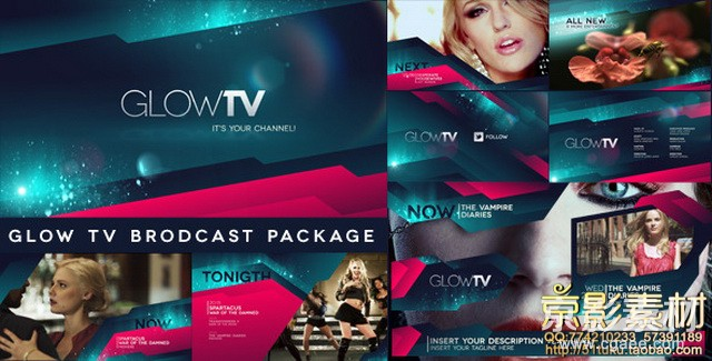AE模板-炫酷光效时尚电视栏目包装模板 Glow TV Broadcast Package
