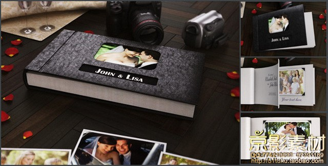 AE模板-3D电子相册图片翻页展示片头 The 3D Photo Album