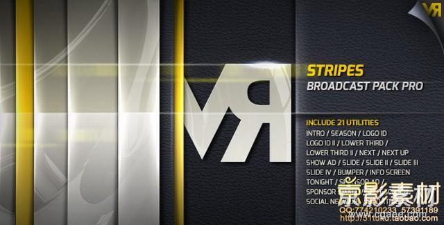 AE模板-时尚条纹栏目包装片头 Stripes–Broadcast Pack Pro