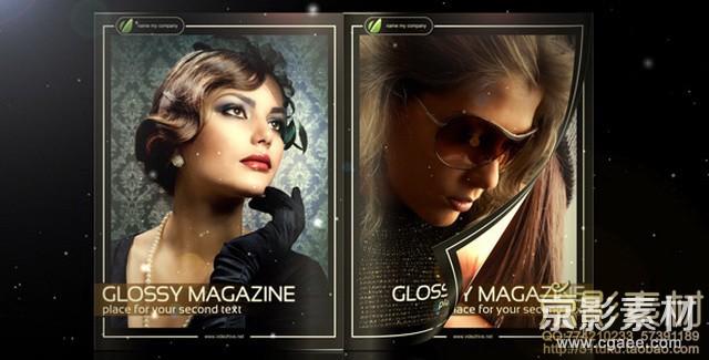 AE模板-时尚杂志图片翻页展示片头 Glossy Magazine