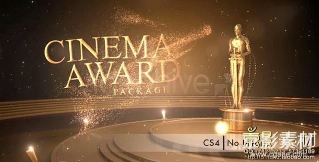 AE模板-大气奢华金色粒子电影晚会颁奖片头 Cinema Awards Package