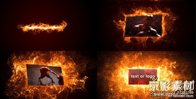 AE模板-火热粒子燃烧视频图片展示片头 Hot particles