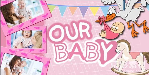 AE模板-新生宝宝成长相册图片展示片头 Baby Photo Album