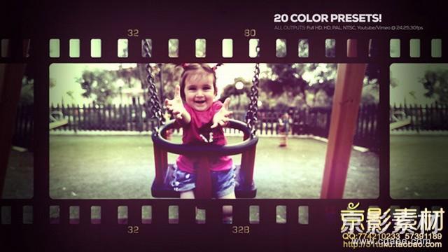 AE模板-可爱回忆电影胶卷效果图片视频展示片头Lovely Memories