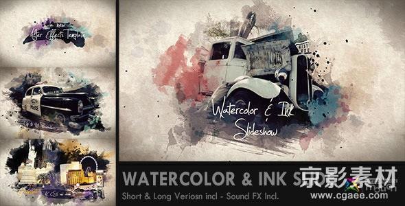 AE模板-水彩&水墨幻灯片展示片头 Watercolor & Ink Slideshow